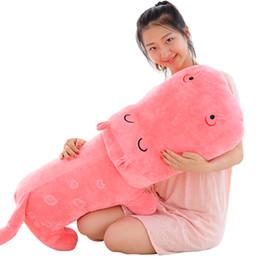 Stuffed hippo animal dollS online shopping - large hippo plush pillow doll kawaii stuffed animals hippos toy pillow wedding decoration birthday gift inch cm DY50308