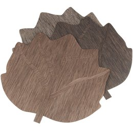 japan kitchen 2019 - 40*40cm Kitchen Table Mats PVC Placemat Maple Leaf Shape Bar Plate Mat Heat Insulation Non Slip Pads ZA6643 cheap japan