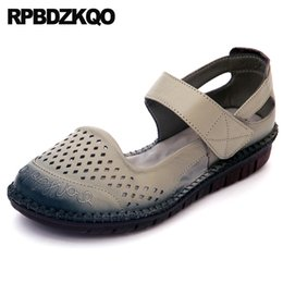 Discount chinese traditional shoes - Elderly Breathable Flats Ankle Strap Traditional Chinese Shoes Hollow Out China Designer Round Toe Grey 2018 Women Large