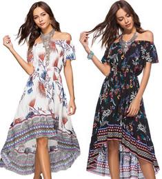Hi Lo Dress Print Canada - Women Beach Bohemia Dress Hi-Lo Elastic Waist Retro Irregular Ethnic Floral Print Slash Neck Casual M- XL Summer Fashion Clothes
