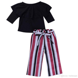 $enCountryForm.capitalKeyWord UK - Kid Girl Off Shoulder Top + Black Red White Striped Bellbottoms 2pcs set Oufit Bowknot Baby Girls Clothing Toddler Fashion Boutique Costume