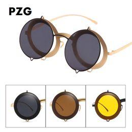 unique design sunglasses 2019 - PZG fashion retro round box punk sunglasses men lens foldable unique sunglasses design womens brand designer cheap uniqu