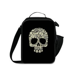 food ice packs NZ - Men Fashion Travel Outdoor Lunch Bag 3D Printing Skull Children Small Food Drinks Ice Packs Kid Thermal School Lunchbox Isothermic Container