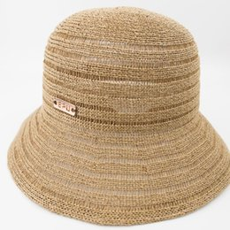 ladies summer fedora Canada - Knitted Paper Straw Bucket Hat Women Sun Natrual Style hat ladies Summer Fashion Fedora hat for Beach Vacation Holiday EPU-MH1851