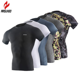 Wear Compression Shorts Australia - ARSUXEO Sport Shirt Men Short Sleeve Elastic Quick Dry Compression T Shirt Base Layer Running GYM Wear Fitness Sportswear