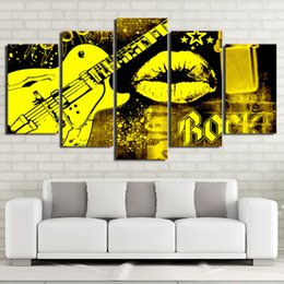 guitar canvas art UK - Free shipping Hot Sale 5 Pieces Guitar Rock Music Mouth Kiss Canvas Painting Pictures Art Oil Poster Wall Pictures Modern Spray Painting