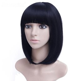 straight bangs wig UK - Free shipping>>>new Hot Sell!!! Women's Medium Straight Synthetic Black Bob Hair Wig With Bangs For Women