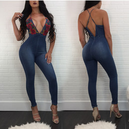 Wholesale floral printed skinny jeans for sale - Group buy Women Sexy Club Deep V Neck Denim Jumpsuit Street Skinny Spaghetti Strap Jumpsuit Floral Print Denim Pants Women Long Trousers Jeans Outfits