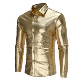 Wholesale colored collar shirt for sale – custom Brand Fashion Male Shirt Long Sleeves Tops Light Colored Shirt Personality Night Club Mens Dress Shirts Slim Men
