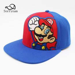 super mario hat wholesale 2019 - Popular games Super Mario Bros Baseball Cap Embroidery Cartoon Character Sun Hat Cotton SnapBack Cap for Men and Women G
