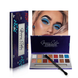 Discount bright eyes - New 14 Bright Colors Matte and Glitter Eyes Makeup With Professional Eyeshadow Brush Eyeshadow Palette