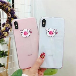 $enCountryForm.capitalKeyWord UK - for iphoneX 8plus 7 6s Phone Case Shell akitas Soft TPU painting kawaii Smiling face Embossed Relief Transparent silicone Lovely pig