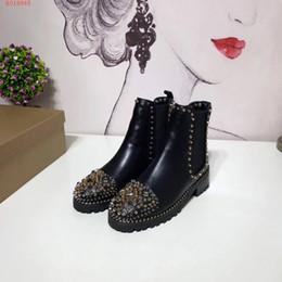 46e7d22e478ded Top-Qualität Marke Spiks Stiefeletten für Frauen echte Rindsleder  Breathable Mode kausalen Boots Dame roten Boden niet Cowboy Stiefel