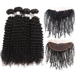 kinky curly weaving hair Canada - 10A Brazilian Afro Kinky Curly Hair Bundles With Lace Frontal Closure 4 Bundles Unprocessed Virgin Human Hair Weaves Closure Extensions