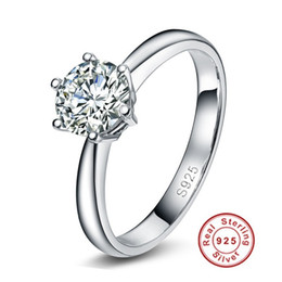 $enCountryForm.capitalKeyWord Australia - Luxury Jewelry Solid 925 Sterling Silver Wedding Rings For Women Classic Crown Inlay 1 Carat Diamond Engagement Ring