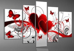 wall decor art canvas butterflies 2019 - Home Decor Hand Painted Red Love Heart Butterfly Oil Painting For Living Room Wall Pictures 5 Piece Canvas Art Pintura c