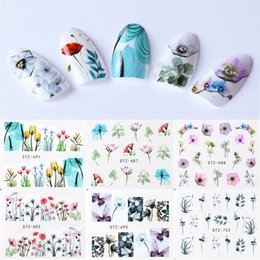 blue painted nails Canada - 1pcs Colorful Flower Water Transfer Sticker Nail Art Decals Wraps Rose Flora Bloom Painting Tips Manicure Tools SASTZ683-706