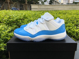 basketball shoes light up Canada - Wholesale New 11 XI Columbia light Blue Low men basketball shoes sports sneakers trainers top quality size 36-46