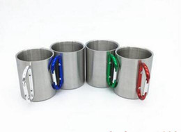 Handle Free Mugs NZ - free shipping 100pcs Portable Carabiner Handle Cup Stainless Steel Foldable Mug 220ml Outdoor Camping Clip Hook Mugs