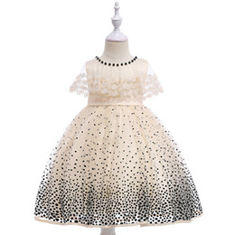 Wholesale Children polka dot pageant dress beaded lace gauze embroidery capes lapel party dresses for girls Bows belt lace tulle dress Y1155