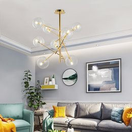 living room chandeliers china Canada - Engineering Chandeliers Bar Glass Ball led Hanging Lamp led Modern Chandeliers China Living Room Chandelier Lighting Home led pendant Lamps