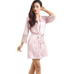 85 Sexy Women S Deep-V-Neck Nightwear Robes Plus Size Mid-Sleeve Lace Silk Female  Bathrobes Sleepwear Solid Night Robes a4e1168a8