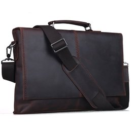 Wholesale 2017 Handmade Man Bag Genuine Leather Briefcase For Not13 quot Designer Messenger Bag Brown Office Retro Stylish