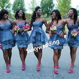 Discount organza knee length bridesmaid dresses - Blue Lace Peplum Bridesmaids Dresses Knee Length Sweetheart Wedding Party Gowns Organza Ruffles Maid of Honor Dress abit