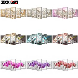 Wholesale peony embroidery resale online - ZOOYA d diy Diamond embroidery Orchid peony lily flower diamond painting Cross Stitch full square Rhinestone mosaic decoration Y18102009