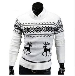 knitted shorts pattern Australia - Loldeal Sueter Hombre X-mas Sweaters Male Men O-Neck Long Sleeve Cotton Christmas with Deer Pattern Slim Pullovers