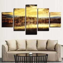 Boat Landscape Oil Painting UK - Canvas Pictures Modular Home Decor Framework 5 Pieces Sunset Lake Boat Landscape Paintings HD Prints Poster Living Room Wall Art