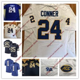 80d3ce78a Custom Pittsburgh Panthers Pitt College jerseys 25 McCoy 1 Larry Fitzgerald  28 Dion Lewis 24 James Conner Sew Navy Gold White Blue Jerseys