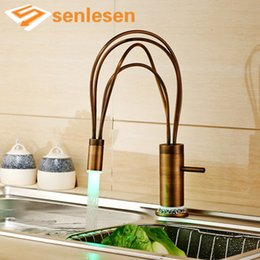 led kitchen faucet sink water NZ - Antique Brass Kitchen Sink Faucet Flexible Kitchen Taps with Hot and Cold Water LED Light Deck Mounted