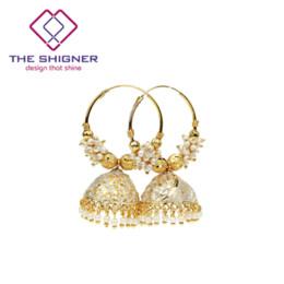 6a7e94b07945 EL SHIGNER Tradicional India Oro Colorido Granos Bali Hoop Jhumki Jhumka  Pendientes Estilo de Bollywood Jhumka Pendiente Joyería