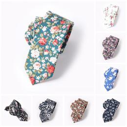 Flowers men wear weddings online shopping - 6cm Flower Printing Narrow Men Ties Cotton Leisure Fashion Neckties Groom Wedding Party Decoration Wear Cravats mz Z
