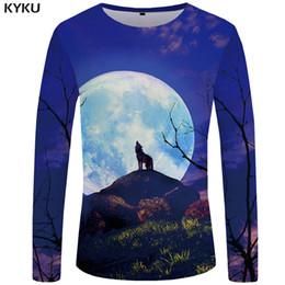 317949ee0ffe KYKU Wolf T shirt Men Long sleeve shirt Moon Rock Tree Cool Sky 3d T-shirt  Animal Punk Funny T shirts Mens Clothing 2018