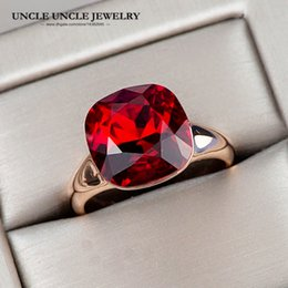 $enCountryForm.capitalKeyWord Australia - Woman Artificial Red Crystal Ring Rose Gold Color Top Quality Luxury Dark Red Square Finger Rings Wholesale 18krgp stamp