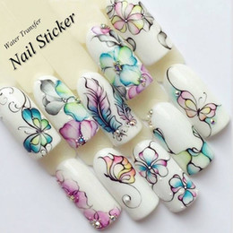 $enCountryForm.capitalKeyWord Canada - 10Pcs set Charm Flowers Butterflies Nail Art Stickers Water Decals Spring Floral Nails Sticker Decoration 2018 New Arrival High Quality