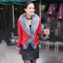 4ab64324edc6f lady sheepskin jacket plus size with big fox fur collar silver fox fur down coat  for women genuine leather and coat short