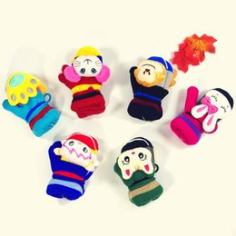 wholesale kids mitten NZ - 2018 New Kids Colorful Cartoon Animal Head Children Thick Gloves Autumn Winter With Hanging Rope Boy And Girl Size Baby Warm Mittens