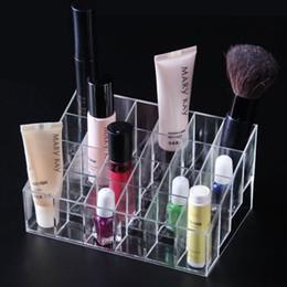Grid racks online shopping - Durable Lipstick Display Racks Simple Clear Cosmetic Jewelry Storage Box Plastic Grid Desktop Boxes Hot Sale cr B