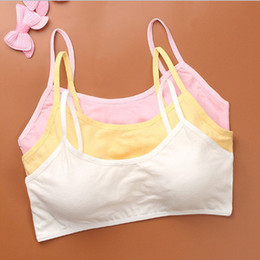 Natural Cotton Underwear Australia - Young Girls Solid Soft Cotton Bra Wire Free Seamless Puberty Teenage Breathable Underwear Kid Clothing 50pcs lot