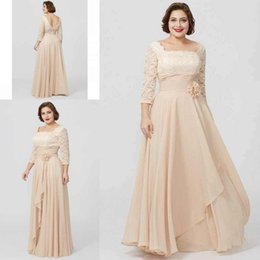 Vintage mother pearl online shopping - Vintage Mother Of The Bride Dresses Square Neckline Long Sleeves Lace Top Hand Made Flowers Chiffon Evening Gowns