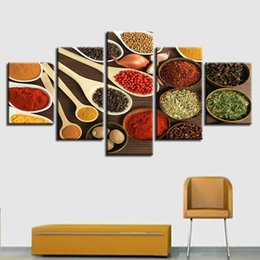 Piece kitchen wall art canvas online shopping - Embelish Pieces Spoon Grains Spices Poster Modern Kitchen Decor Modular Wall Art Pictures Home Decor HD Canvas Paintings