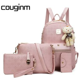 Cute Backpacks For Teenage Girls Australia - COUGINM Fashion Composite Bag Pu Leather Backpack Women Cute Sets Shoulder Bags School Backpacks For Teenage Girls Cardbags