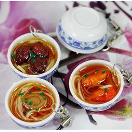 Chinese Porcelain Pendants Australia - 1Pcs Chinese Blue and white porcelain  Bowl Mini bag pendant Simulation  Key Chains noodle Creative Keychain 4.2 cm*2 cm