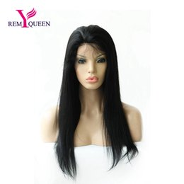 $enCountryForm.capitalKeyWord NZ - Remy Queen 1# Jet Black Yaki Straight Full Lace Wig 100% Human Hair 130% Density Nautral Hairline With Baby Hair Bleached Double Knots