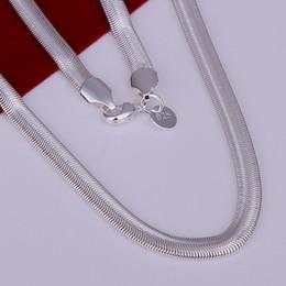 fd5e4a6abedd 2018 Moda Sólido 925 Cadena de Plata Esterlina 1 Unids 6 MM Hombres Mujeres  Collar 16 - 24 pulgadas de NAVIDAD Nuevo Classic Snake Necklace Chain Link  ...