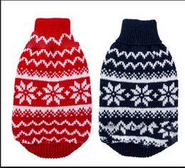 hottest sweatshirts 2019 - Christmas Pet Dog Sweater Blue Red Sweaters With Snowflake Pattern Dog Winter Warm Costumes Hot Sale Puppy Clothes cheap