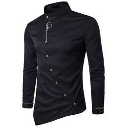 Wholesale oblique button shirt for sale – dress New spring Autumn embroidery irregular oblique button brought high grade Hotel Waiter men clothes camisa social shirts